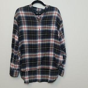 Madewell Plaid Lightweight Popover Shirt Size L